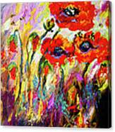 Red Poppies And Bees Provence Dreams Canvas Print