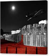 Red Poppies At Tower Of London With Spitfire Flypast Canvas Print