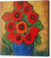 Red Poppies In Blue Vase Canvas Print