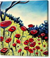 Red Poppies Under A Blue Sky Canvas Print