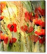 Red Poppies Watercolor Canvas Print