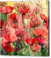 Red Poppies Wearing Pink Canvas Print