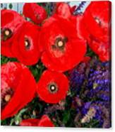 Red Poppy Cluster With Purple Lavender Canvas Print