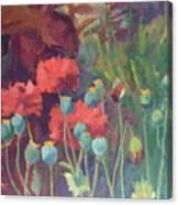 Red Poppy Pods Canvas Print