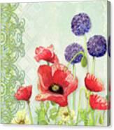Red Poppy Purple Allium IIi - Retro Modern Patterns Canvas Print
