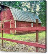 Red Rail Barn Canvas Print
