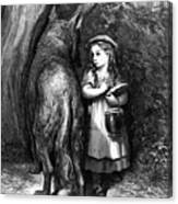 Red Riding Hood Meets Old Father Wolf Canvas Print