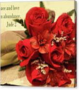 Red Roas Bouquet Jude 2 Canvas Print