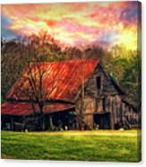Red Roof At Sunset Canvas Print