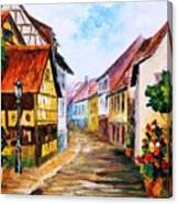 Red Roof - Palette Knife Oil Painting On Canvas By Leonid Afremov Canvas Print