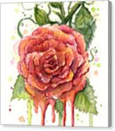 Red Rose Dripping Watercolor  Canvas Print