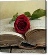 Red Rose On An Old Big Book Canvas Print