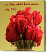 Red Rosed In Vase Is.55 V 6 Canvas Print