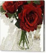 Red Roses And Glass Still Life 042216 1a Canvas Print