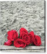 Red Roses Beachside Canvas Print