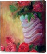 Red Roses For A Blue Vase Canvas Print