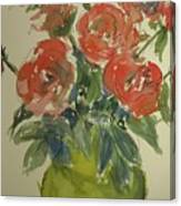 Red Roses In A Green Vase Canvas Print