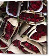 Red Roses Wrapped In Paper Displayed Canvas Print