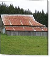 Red Rusty Tin Roofed Old Barn Washington State Canvas Print