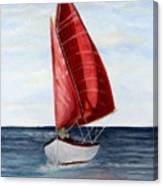 Red Sail Serenity Canvas Print