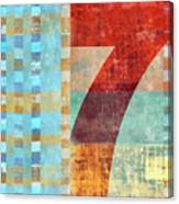 Red Seven And Stripes Mixed Media Canvas Print