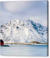 Red Shack On Fjord - Panorama Canvas Print