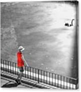 Red Shirt, Black Swanla Seu, Palma De Canvas Print