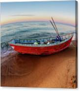 Red Skiff Canvas Print