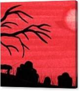 Red Sky Cemetery Canvas Print