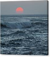 Red Sun With Wave Canvas Print
