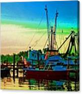 Red Sunrise And The Shrimp Boat Canvas Print