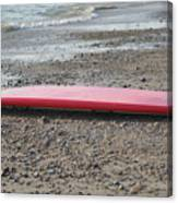 Red Surf Board On A Rocky Beach Canvas Print