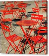 Red Tables And Chairs Canvas Print
