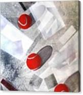 Red Tennis Balls On White Sand Canvas Print
