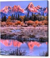 Red Tip Teton Reflection Panorama Canvas Print