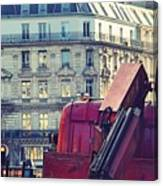 Red Truck In Paris Street Canvas Print