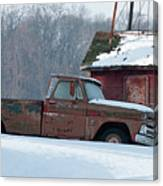 Red Truck In The Snow Canvas Print