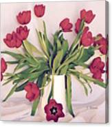 Red Tulips In Full Bloom Canvas Print