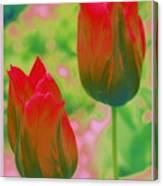 Red Tulips Pop Art Canvas Print