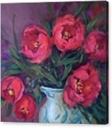 Red Velvet Tulips Canvas Print