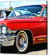 Red Vintage Cadillac Canvas Print
