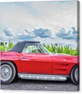 Red Vintage Corvette Sting Ray Vineyard Canvas Print