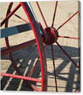 Red Waggon Wheel Canvas Print
