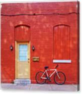 Red Wall White Bike Canvas Print