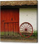 Red Wheel And Barn In Sweden Canvas Print
