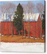 Red White And Blue Barn Canvas Print