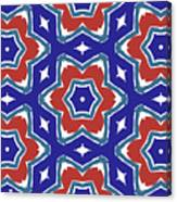 Red White And Blue Star Flowers 1- Pattern Art By Linda Woods Canvas Print