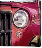 Red Willys Jeep Truck Canvas Print