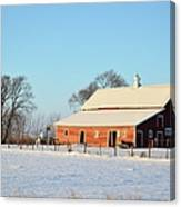 Red Winter Barn Canvas Print