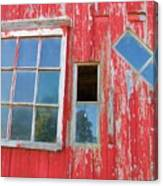 Red Wood And Windows Canvas Print